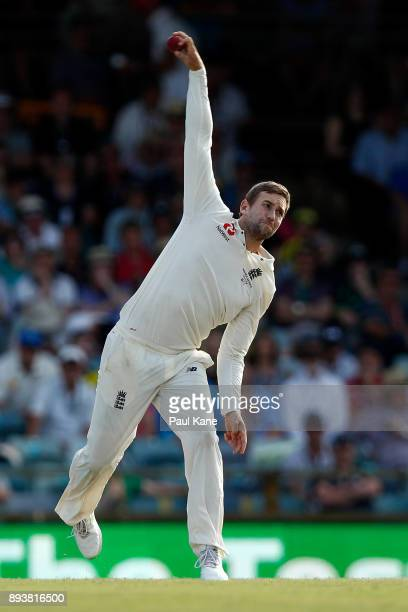 Dawid Malan of England bowls during day three of the Third Test match during the 2017/18 Ashes Series between Australia and England at WACA on...