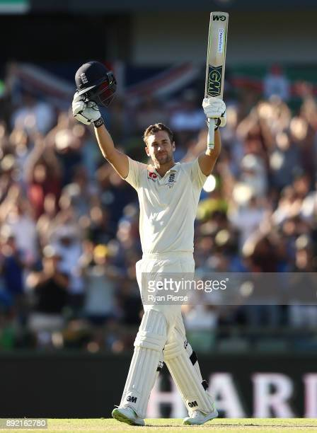 Dawid Malan of England celebrates after reaching his century during day one of the Third Test match of the 2017/18 Ashes Series between Australia and...