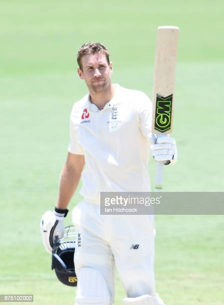 Dawid Malan of England celebrates as he brings up his century on day 3 of the four day tour match between Cricket Australia XI and England at Tony...