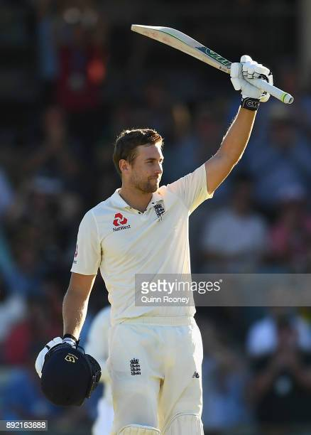 Dawid Malan of England celebrates making a century during day one of the Third Test match of the 2017/18 Ashes Series between Australia and England...