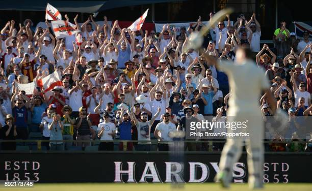 Dawid Malan of England celebrates reaching his century during the first day of the third Ashes cricket test match between Australia and England at...