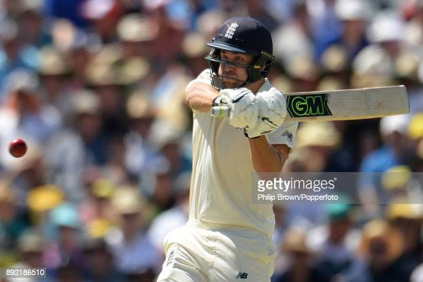 Dawid Malan of England hits out during the first day of the third Ashes cricket test match between Australia and England at the WACA on December 14...