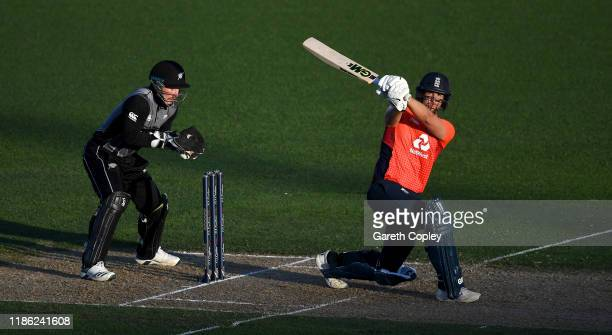 Dawid Malan of England hits out for six runs during game four of the Twenty20 International series between New Zealand and England at McLean Park on...