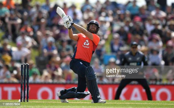 Dawid Malan of England hits out for six runs during game three of the Twenty20 International series between New Zealand and England at Saxton Field...