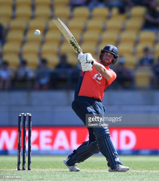 Dawid Malan of England hits out for six runs during game two of the Twenty20 International series between New Zealand and England at Westpac Stadium...