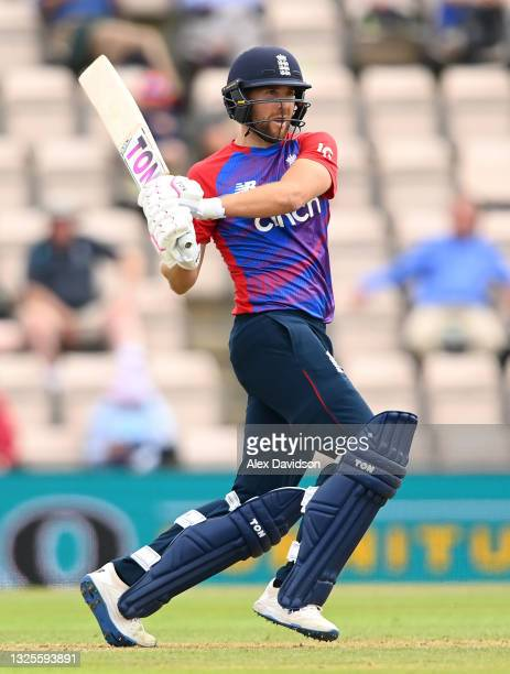 Dawid Malan of England hits runs during the T20 International Series Third T20I match between England and Sri Lanka at The Ageas Bowl on June 26,...