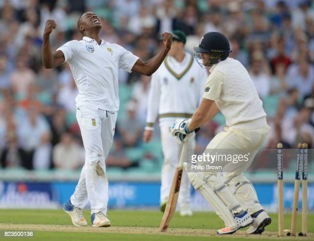 Dawid Malan of England is bowled by Kagiso Rabada during the first day of the 3rd Investec Test match between England and South Africa at the Kia...
