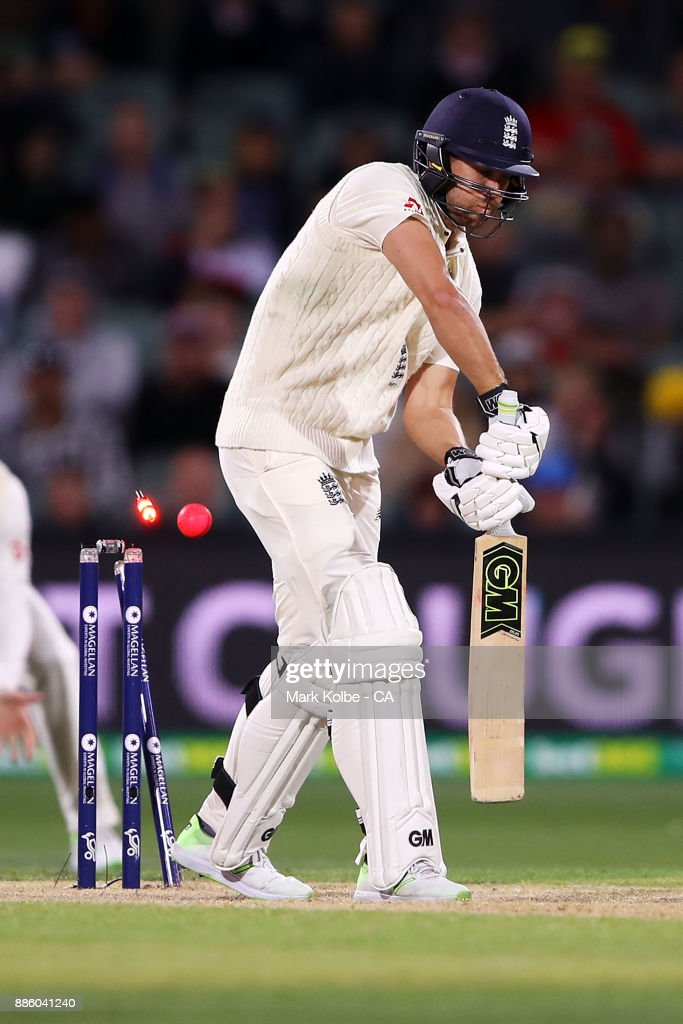 Dawid Malan of England is bowled by Pat Cummins of Australia during day four of the Second Test match during the 2017/18 Ashes Series between Australia and England at Adelaide Oval on December 5, 2017 in Adelaide, Australia.