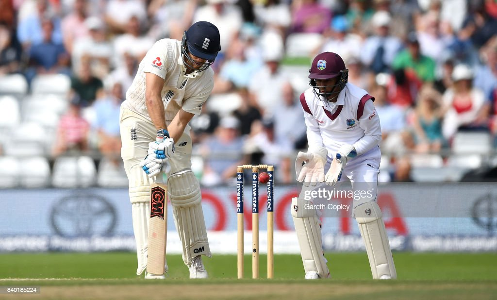 Dawid Malan of England is bowled by Roston Chase of the West Indies during day four of the 2nd Investec Test between England and the West Indies at Headingley on August 28, 2017 in Leeds, England.