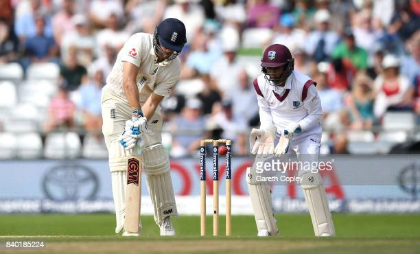 Dawid Malan of England is bowled by Roston Chase of the West Indies during day four of the 2nd Investec Test between England and the West Indies at...