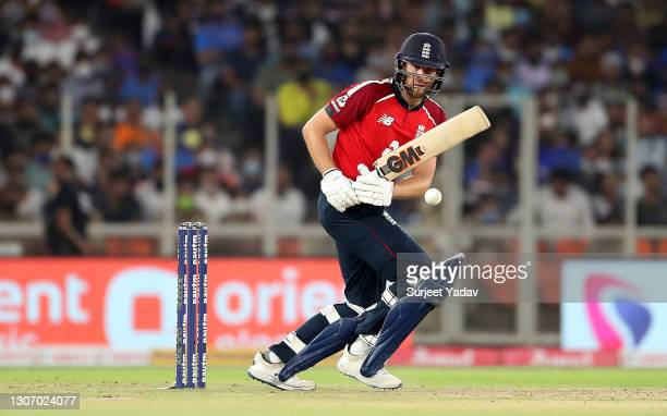 Dawid Malan of England plays a shot during the 2nd T20 International match between India and England at Narendra Modi Stadium on March 14, 2021 in...
