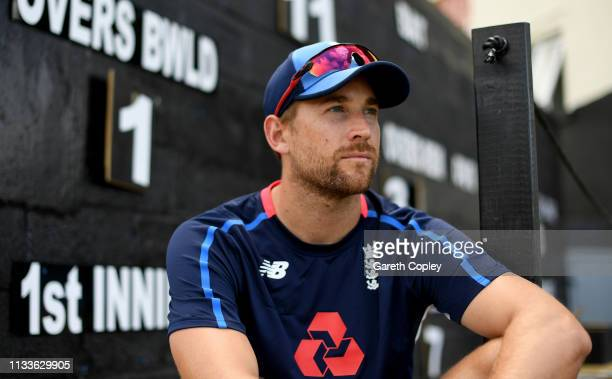Dawid Malan of England poses for a portrait ahead of a nets session at the Daren Sammy Cricket Stadium on March 04 2019 in Gros Islet Saint Lucia