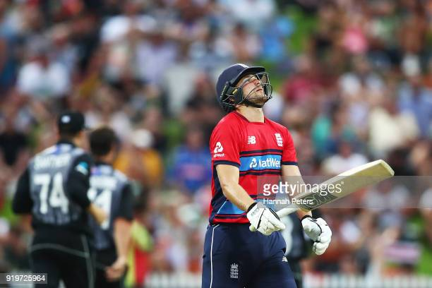 Dawid Malan of England reacts after being dismissed by Colin de Grandhomme of the Black Caps during the International Twenty20 match between New...