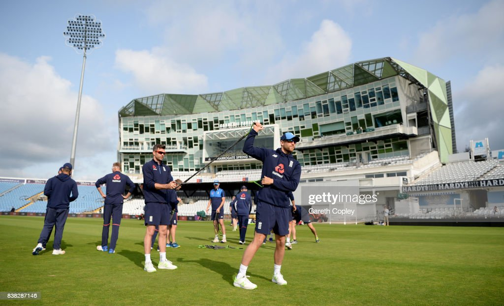 Dawid Malan of England warms up during a nets session at Headingley on August 24, 2017 in Leeds, England.