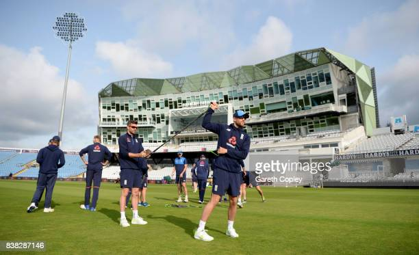 Dawid Malan of England warms up during a nets session at Headingley on August 24 2017 in Leeds England