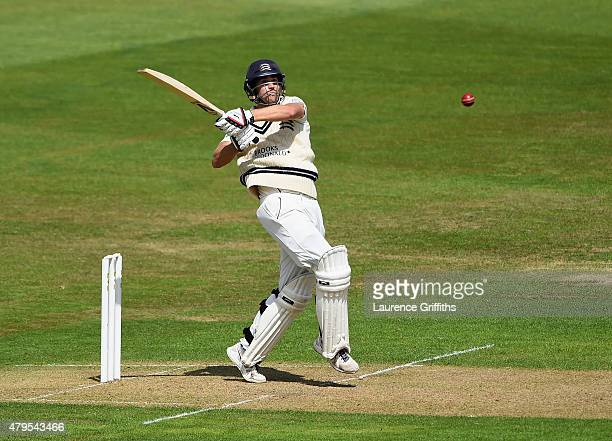 Dawid Malan of Middlesex hits out during the LV County Championship match between Nottinghamshire and Middlesex at Trent Bridge on July 5 2015 in...