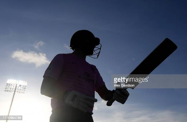 Dawid Malan of Middlesex walks out to bat during the Vitality Blast match between Hampshire and Middlesex at Ageas Bowl on August 29 2019 in...