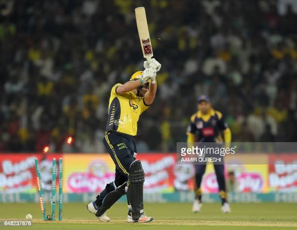 Dawid Malan of Peshawar Zalmi is bowled out during the final cricket match of the Pakistan Super League between Quetta Gladiators and Peshawar Zalmi...