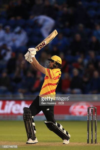 Dawid Malan of Trent Rockets plays an attacking shot during The Hundred match between Welsh Fire Men and Trent Rockets Men at Sophia Gardens on...