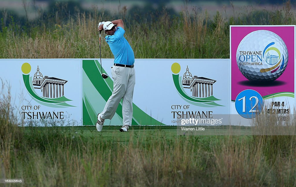 Dawie Van Der Walt of South Africa tees off on the 12th hole during the final round of the Tshwane Open at Copperleaf Golf & Country Estate on March 3, 2013 in Centurion, South Africa.