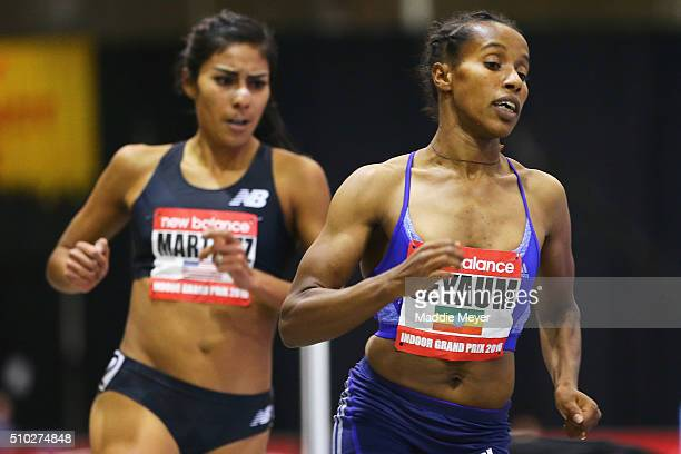Dawit Seyaum of Ethiopia competes in the Women's 1500 m during the New Balance Indoor Grand Prix at Reggie Lewis Center on February 14 2016 in Boston...