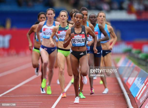 Dawit Seyaum of Ethiopia in action during the Women's 1500m race at the Muller Grand Prix Birmingham meeting at Alexander Stadium on August 20 2017...