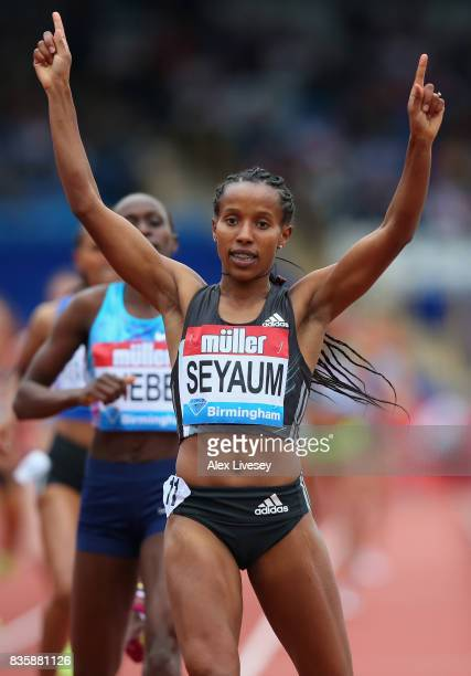 Dawit Seyaum of Ethiopia wins the Women's 1500m race during the Muller Grand Prix Birmingham meeting at Alexander Stadium on August 20 2017 in...