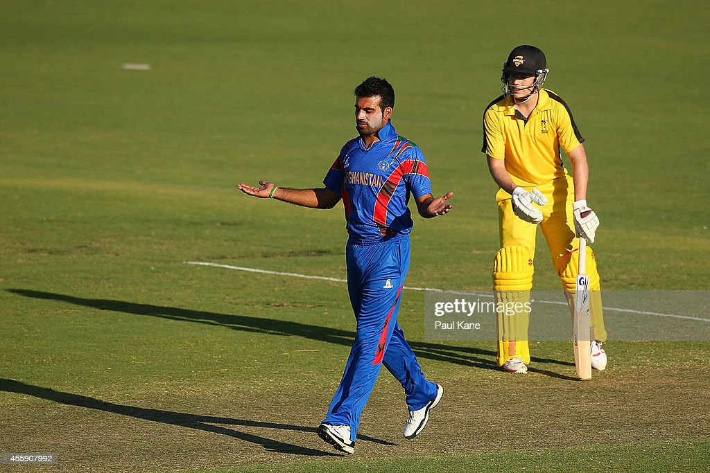 Dawlat Khan of Afghanistan celebrates after dismissing Marcus Harris of the WA XI during the One Day tour match between the Western Australia XI and Afghanistan at the WACA on September 22, 2014 in Perth, Australia.