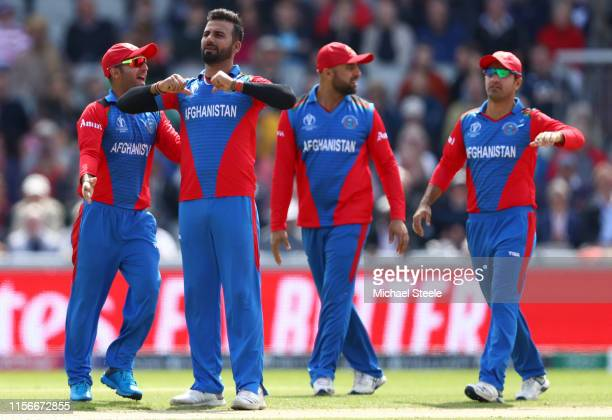 Dawlat Zadran of Afghanistan appeals successfully for the wicket of James Vince during the Group Stage match of the ICC Cricket World Cup 2019...
