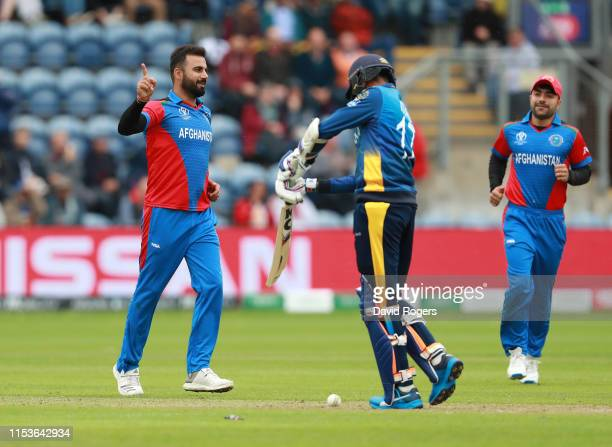 Dawlat Zadran of Afghanistan celebrates after bowling Isuru Udana during the Group Stage match of the ICC Cricket World Cup 2019 between Afghanistan...