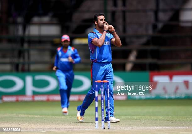 Dawlat Zadran of Afghanistan celebrates the wicket of Gary Wilson of Ireland during The ICC Cricket World Cup Qualifier between Ireland and...