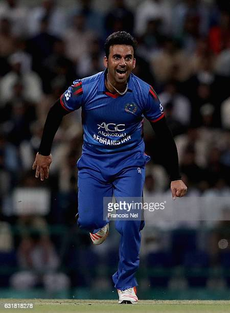 Dawlat Zadran of Afghanistan reacts during the Desert T20 Challenge match between Afghanistan and UAE at Sheikh Zayed Stadium on January 16 2017 in...