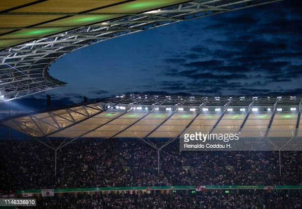 Dawm over the stadium is seen during the DFB Cup final between RB Leipzig and Bayern Muenchen at Olympiastadion on May 25, 2019 in Berlin, Germany.