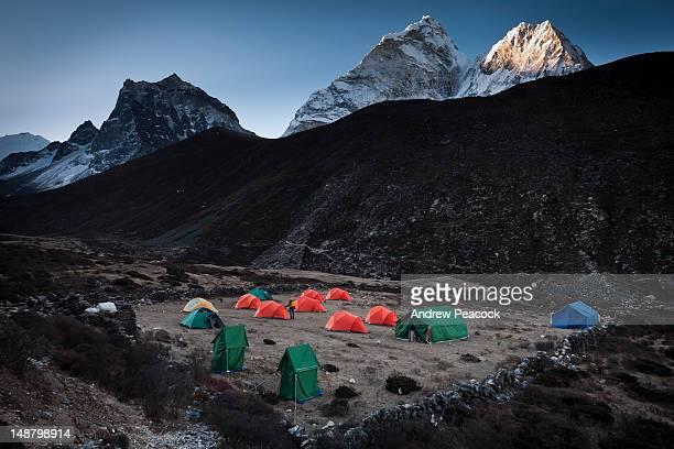 Dawn at campsite in Everest region with Ama Dablam in background.