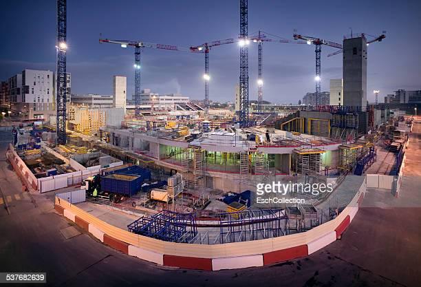 Dawn at construction site of new stadium in Paris