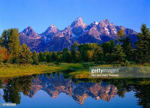 dawn at grand teton national park - jackson hole stock pictures, royalty-free photos & images