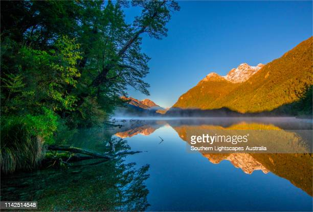 dawn at lake gunn, eglinton valley autumn in the south island, new zealand. - national park stock pictures, royalty-free photos & images
