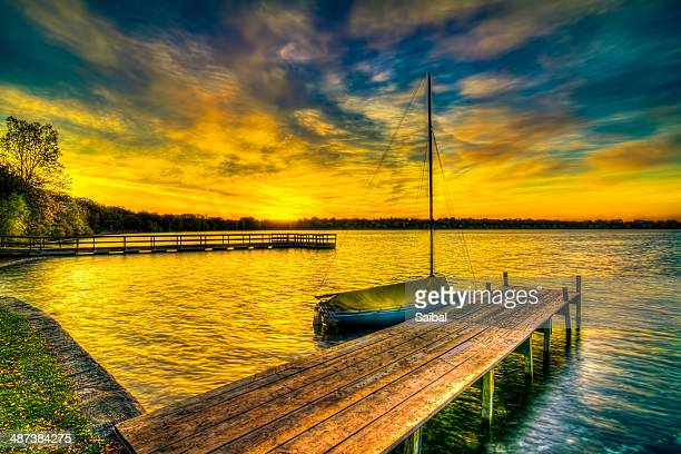 dawn at lake harriet - harriet stock photos and pictures