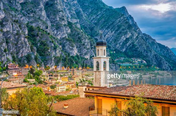 dawn at limone sul garda - lombardy stock pictures, royalty-free photos & images