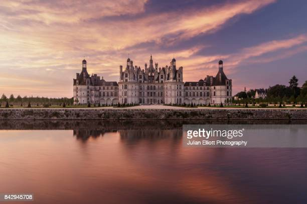 Dawn at the chateau of Chambord in France.