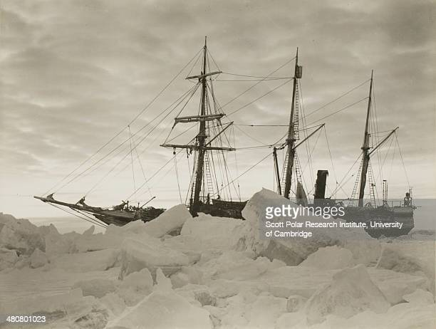 Dawn at the close of winter 1915 showing the 'Endurance' during the Imperial TransAntarctic Expedition 191417 led by Ernest Shackleton