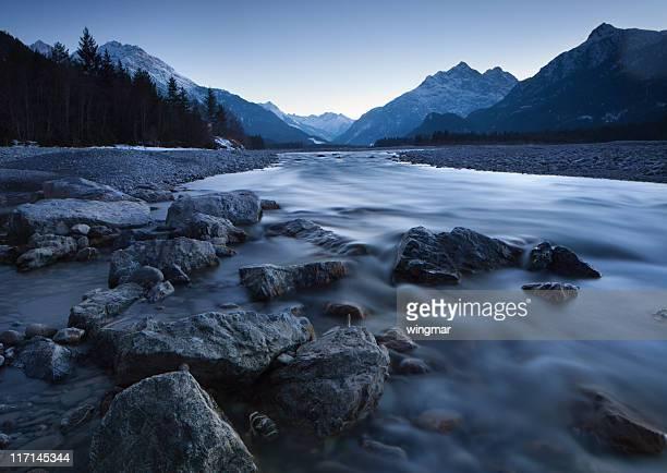 dawn at the lech river near forchach, tirol, austria