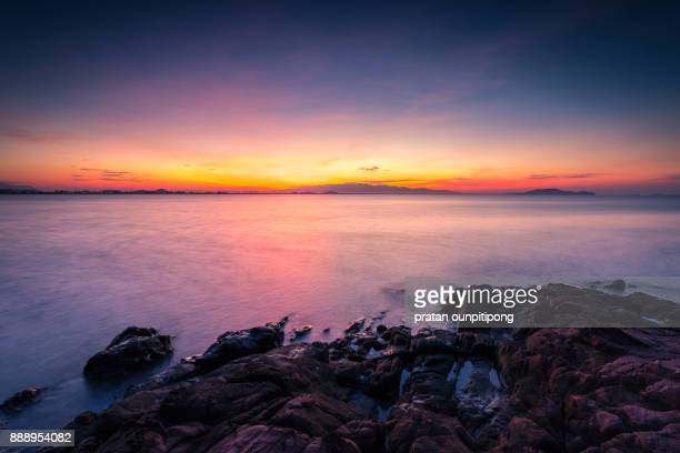 dawn at the sea - chanthaburi sea stock pictures, royalty-free photos & images