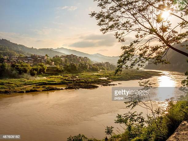 Dawn at the  Shijiang river, China, near  Sanjiang, Guilin, Guangxi