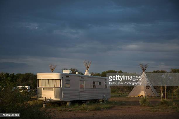 Dawn at the teepee / vintage trailer campground El Cosmico in Marfa Texas in 2014