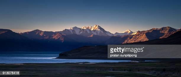 Dawn at Tso Moriri Lake in panorama view