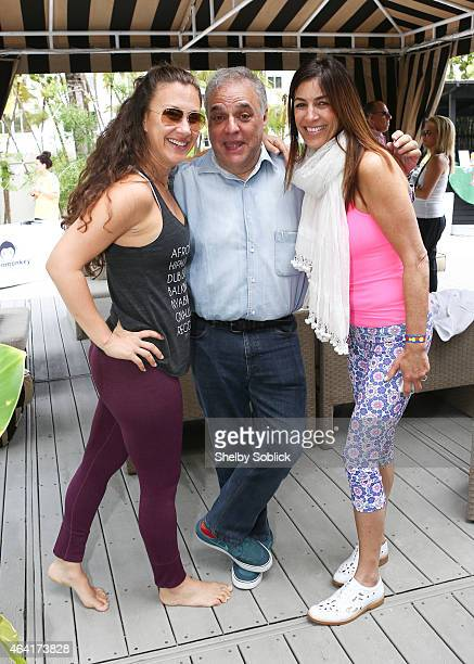 Dawn B Feinberg Founder/Director of SOBEWFF Lee Brian Schrager and Arlene Chaplin attend YogArt presents Buddhas and Bellinis hosted by Dawn B during...