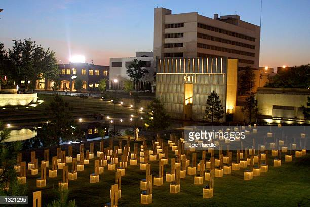 Dawn breaks over the Oklahoma National Memorial on the day of Timothy McVeigh''s execution June 11 2001 in Oklahoma City Oklahoma