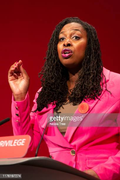 Dawn Butler Labour MP for Brent Central shadow women and equalities minister speaks at the 2019 Labour Party conference on September 21 2019 in...