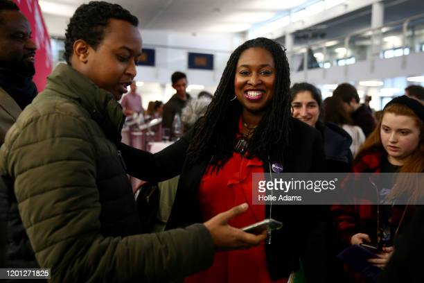 Dawn Butler takes selfies with supporters at a hustings event for Labour Leader and Deputy Leader hosted by the Cooperative Party at the Business...